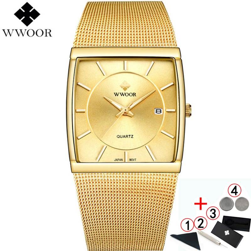 2019 wwoor negócios quartzo quadrado relógio de ouro masculino moda relógios de pulso para homem 2019