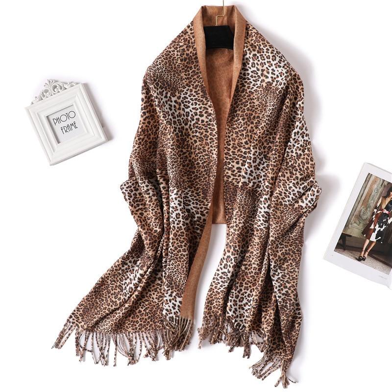 Bufanda de cachemir de imitación de dos lados de viento para mujer invierno engrosamiento mantener caliente chal moda estampado de leopardo Color sólido dos- tono bufanda