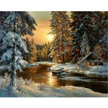 DIY Diamond Painting Cross Stitch winter sunset landscape round rhinestone mosaic Picture 5D diamond embroidery snow tree ico XU
