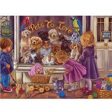 "Rhinestone Painting Home Decor DIY Diamond Painting Square/Round Cross Stitch ""Dogs and Children"" Pattern Diamond Embroidery"