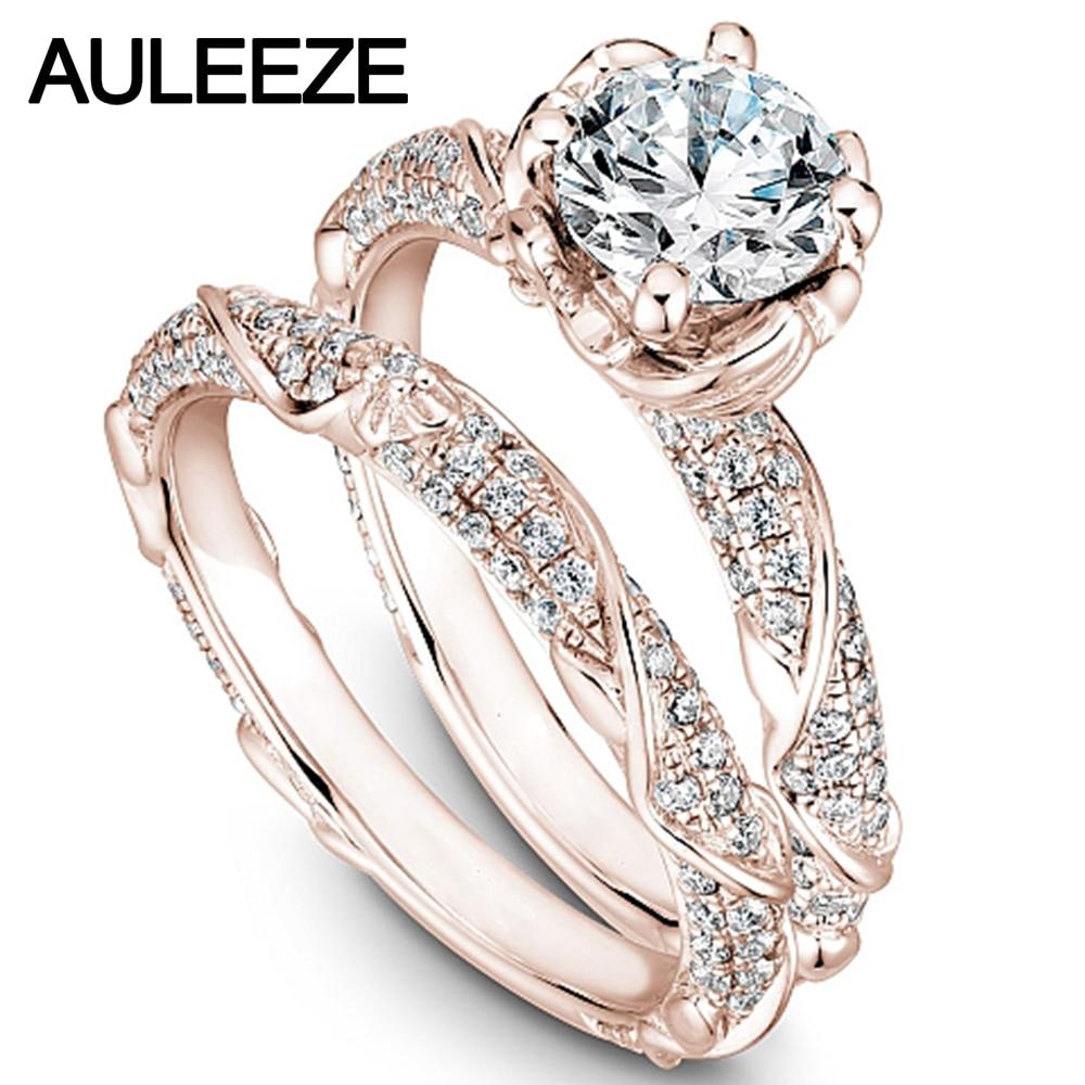 Conjunto de anillos de boda de moissanites con flores de 14 K, oro rosa, único, 1CT, anillo de diamantes cultivados en laboratorio, conjunto de anillos de boda Art Deco, joyería fina