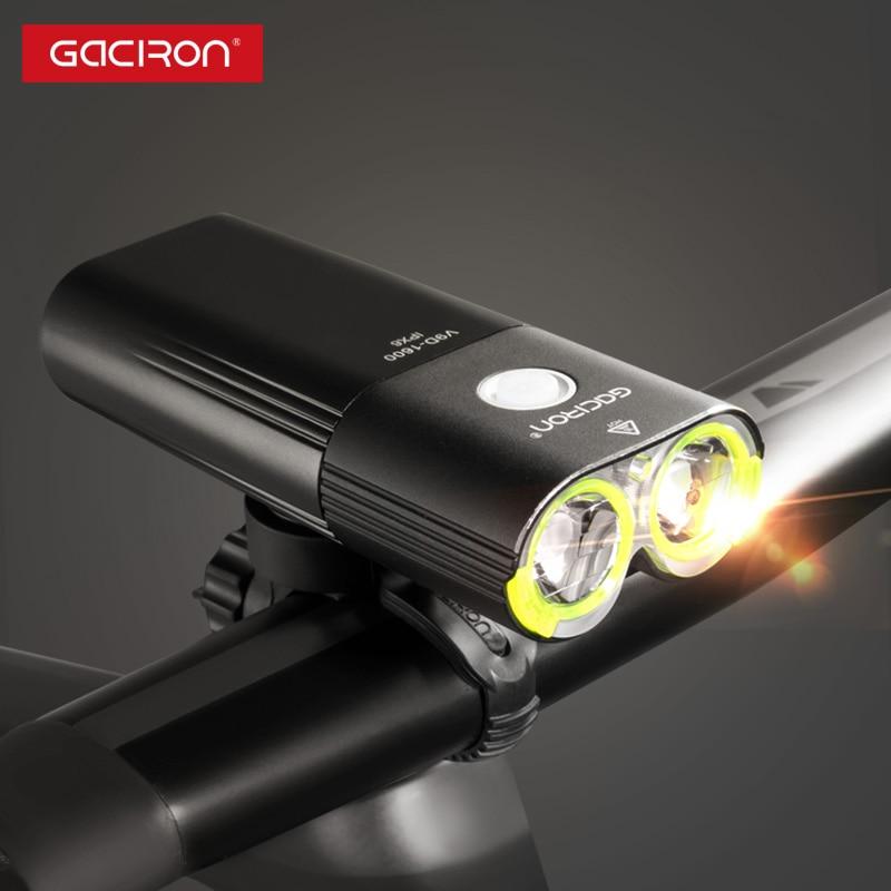 Gaciron V9D-1600 luz delantera de la bicicleta IPX6 impermeable 1600 lúmenes Luz de bicicleta USB recargable 5000mAh banco de energía linterna