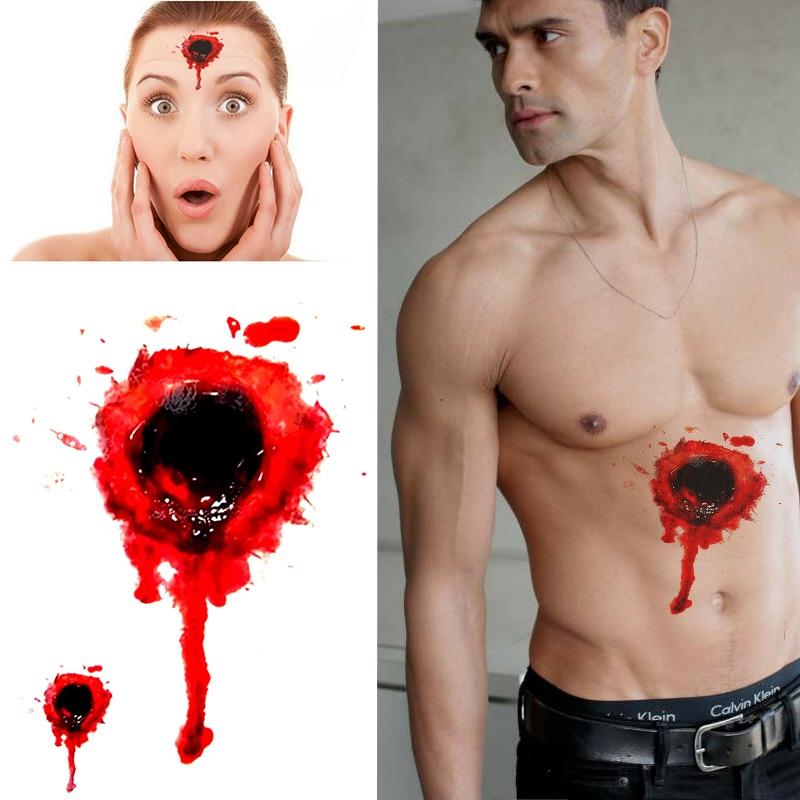 Временная татуировка, кровавая пуля, шрам, Хэллоуин-мужчины, женщины, дети, подделка