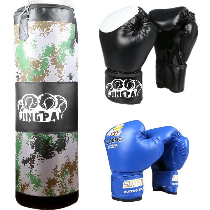 Juego de guantes de boxeo GINGPAI para adultos, niños, MMA, Muay, Thai, Sanda, Krate, equipo de entrenamiento, Fitness, Lucha, ejército rojo y azul