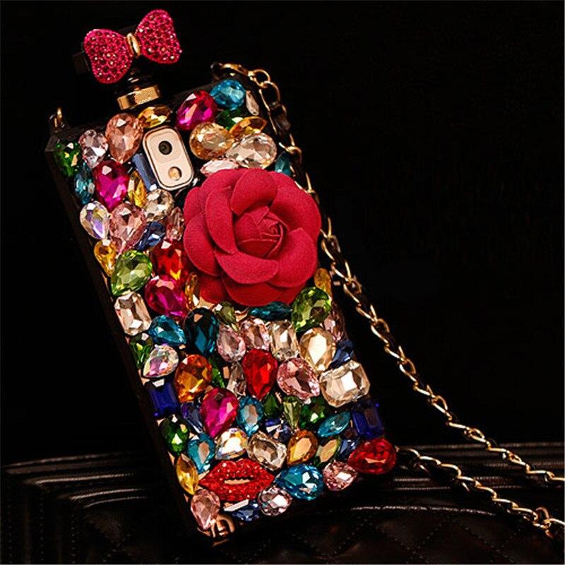 Чехол для Iphone 11 Pro XS Max XR X 8 7 6S Plus Samsung Note 10 9 8 S10E S10/9/8 Plus, цветной Алмазный флакон для духов своими руками