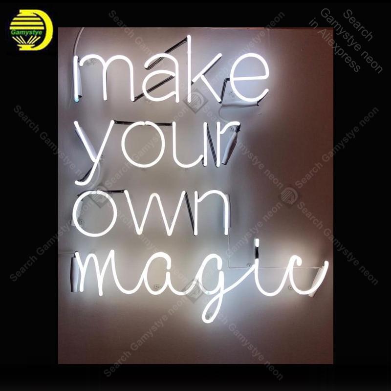 علامة النيون لصنع بنفسك عرض السحر مصابيح النيون أنبوب زجاجي حقيقي تزيين غرفة المنزل الإعلان عن ضوء النيون مخصص مع المجلس