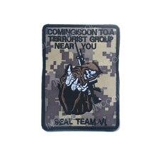 Patch de broderie nous marine sceau équipe 6 crâne armée crochet et boucle tactique militaire patchs emblème Appliques insignes brodés