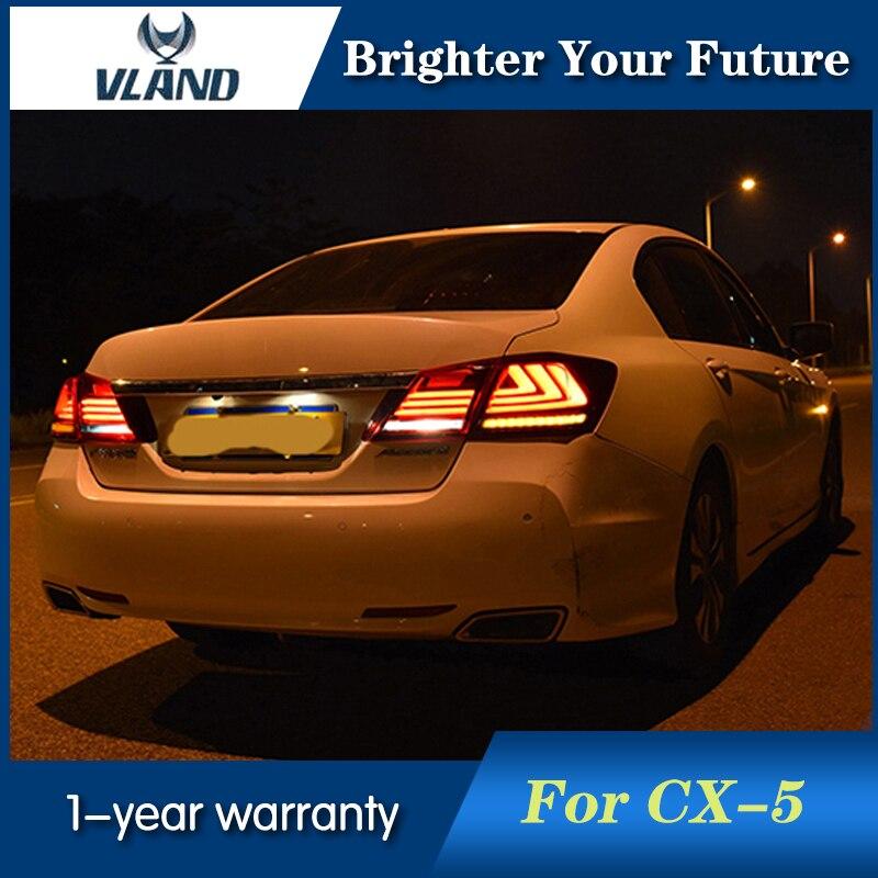 Vland para Honda luces de cola acuerdo sedán 4-puerta 2013-2015 linterna led para cabeza rojo color humo tira de LED de freno lámpara trasera