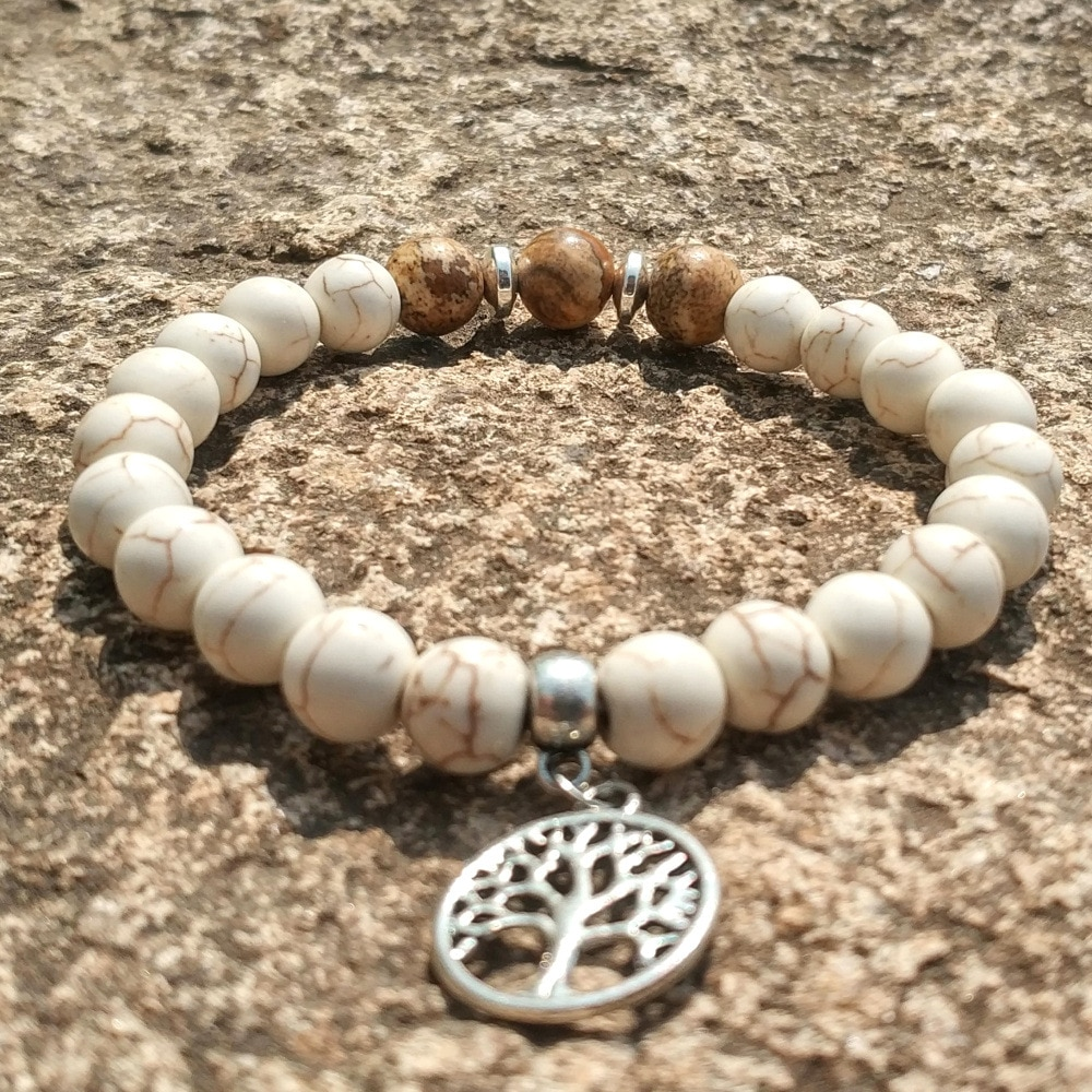 Baum des Lebens Charme Grün Weiß Stein 8mm Schwarz Lava Perlen DIY Aromatherapie Ätherisches Öl Diffusor Armband Strang Schmuck