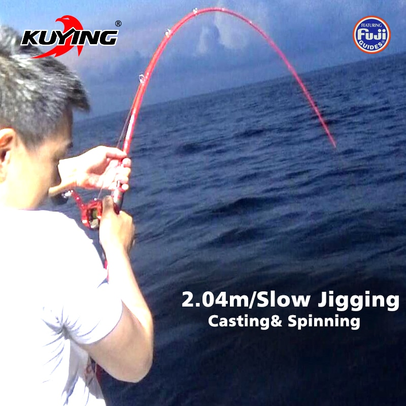 kuying o sprey 2 9m 3m shore jigging rods spinning lure fishing rod pole hard 2 sections carbon fiber fuji parts fast action KUYING VITAMIN SEA 2.04m 6'8 1.5 Sections Casting Spinning Carbon Lure Fishing Slow Jigging Rod Stick Jig Cane Max 180g Lure
