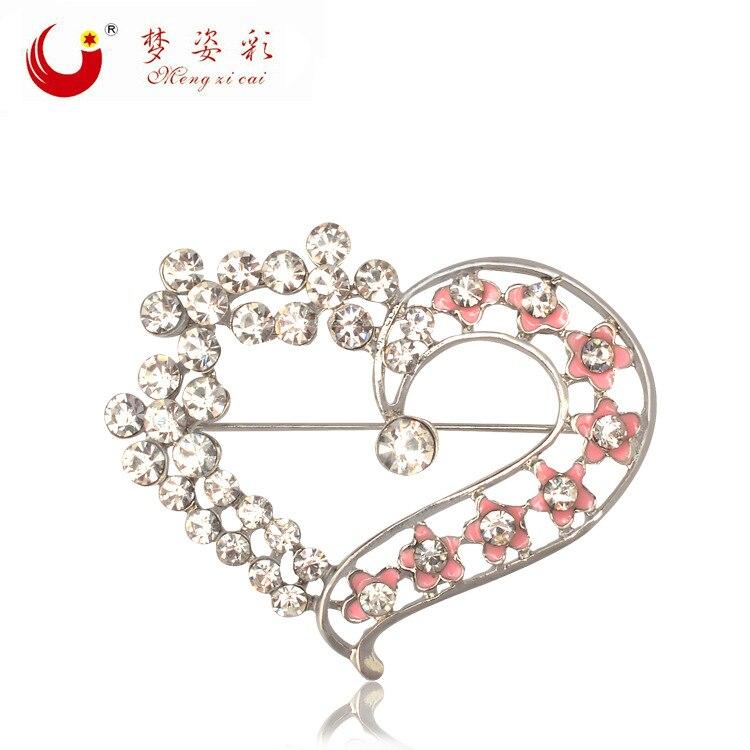 MZC романтическая брошь с сердечком и кристаллом, фарфоровый цветок, брошь для женщин, милый воротник с отворотами, булавка для мамы, подарок