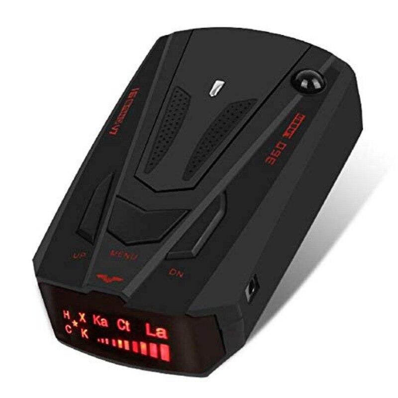 Nuevo detector de radar para coche inglés ruso Auto 360 grados vehículo V7 velocidad aviso por voz alarma advertencia 16 banda LED pantalla