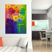 modern pop art giclee handmade abstract floral flower oil painting on canvas poster wall pictures for living room cuadros decor