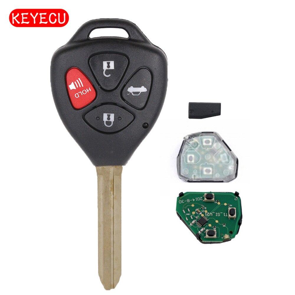 Reemplazo de Keyecu nueva llave de encendido remoto Fob 4 botón 314,4 Mhz con Chip G para 2011 Toyota Camry HYQ12BBY