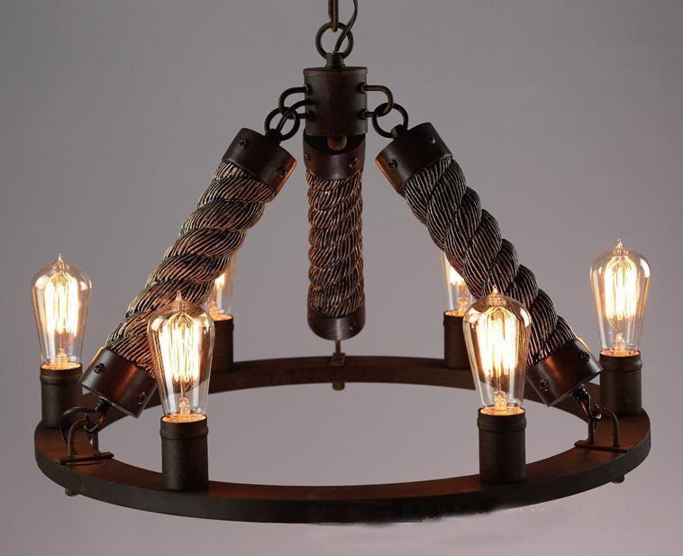 Vintage Hemp Rope Retro  E27 LED Black paint Iron Round Chain Pendant Light with 6 Candlestick Hanging Suspension Lamparas