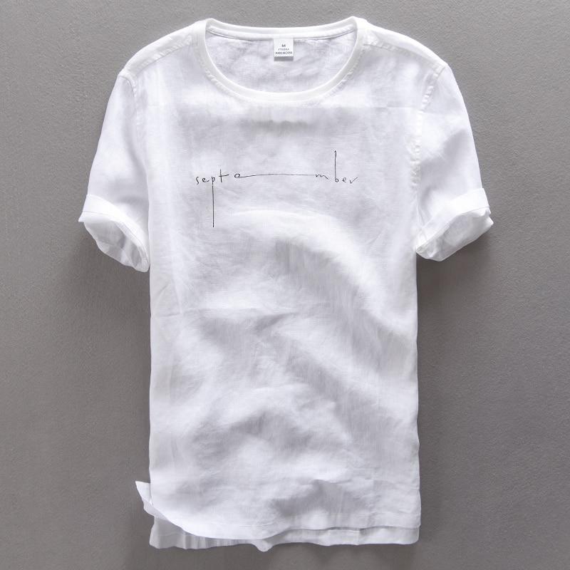 تي شيرت رجالي من الكتان الخالص بأكمام قصيرة ، قميص رجالي برقبة دائرية مع طباعة حروف ، قميص كتان أبيض ناعم 3XL