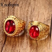 Offre spéciale hommes bijoux haute poli or hommes anneaux charme rouge strass meilleur bague homme femme cadeau taille américaine 8-12