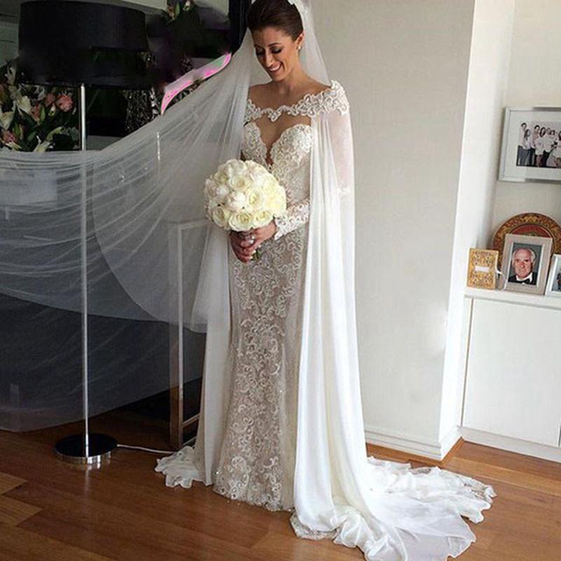 رداء زفاف من الحرير والشيفون العاجي الأبيض ، فستان زفاف ، إكسسوار زفاف ، عرض خاص