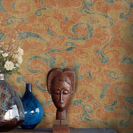 Chinese Style Tibetan Wallpaper Ancient Folk Southeast Asia Temple Buddhist Classical Xiangyun Pattern Wall Paper Roll недорого
