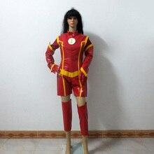 La réversion de sexe féminin rouge super-héros Flash pour femme fête de noël tenue dhalloween Costume de Cosplay personnaliser nimporte quelle taille
