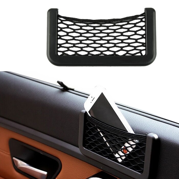 Bolsa de automóvil creativa de 15*8 cm con visera adhesiva accesorios de Interior de coche organizador de red bolsillos bolsa para teléfono móvil bolsa para restos