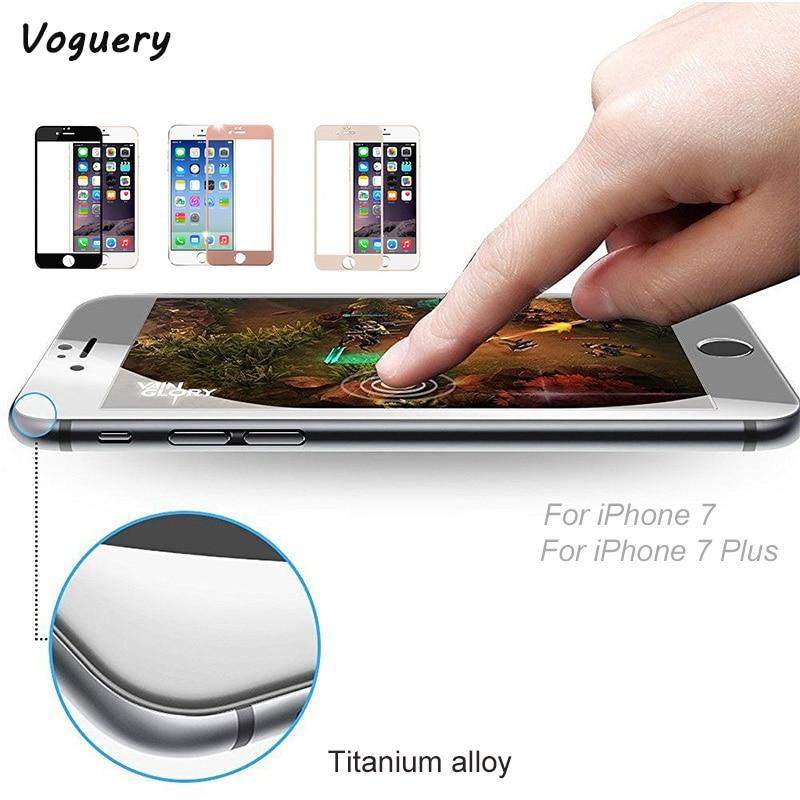 Protector de pantalla de vidrio templado con borde curvo 3D para iPhone 7/7 Plus Edge to Edge marco de Metal Protector de aleación de titanio