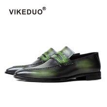 Chaussures mocassins de marque de luxe VIKEDUO chaussures de mariage en cuir véritable pour hommes patine vert décontracté sans lacet chaussures dété Zapatos