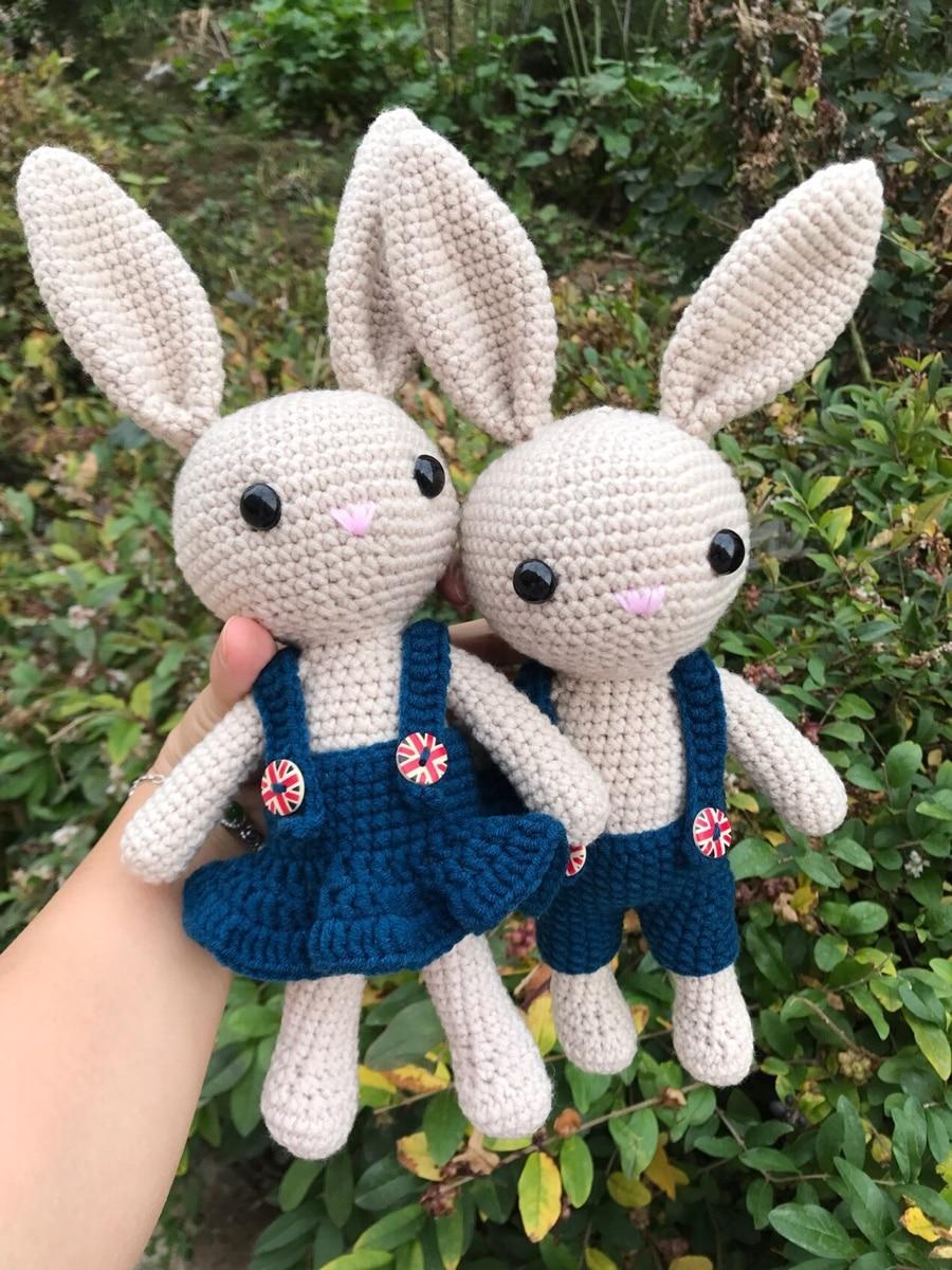 Around 26cm Woolen doll rabbit Plush toys Crochet knitting Cotton bunny doll Hand knitting animal dolls Couple bunny dolls