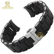 Gummi Armband silikon armband armband Silber farbe schnalle 20 23mm uhr band strap für AR5921 5922 5858 5868 5859 5867