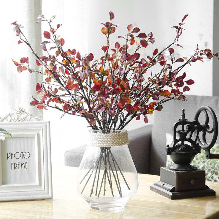 ענפי עץ מלאכותי מפלסטיק עם אדום עלים משי לסתיו בית חג מולד קישוט זר פלוריסטיקה צמחים פרחים מזויפים