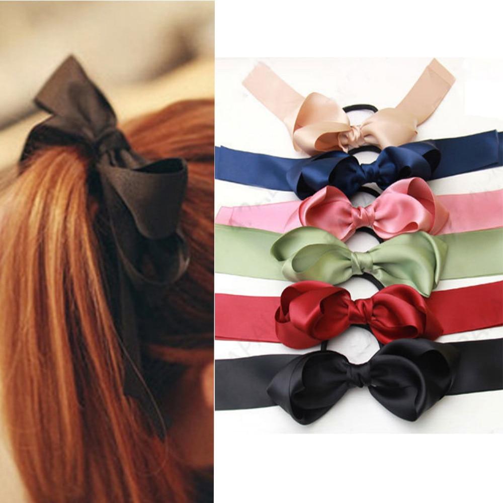 1 pieza, Tiara para mujer, pajarita de satén, cinta de pelo banda elástica, soporte para Coleta, anillos de cuerda, accesorios para el cabello para niña 10,19