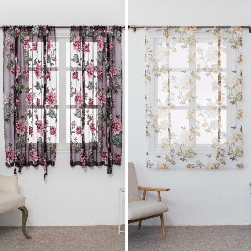 Borboleta tipo de flor roman curto cortinas uso para sala de estar cozinha queimado flor tule semi-sombreamento cortinas