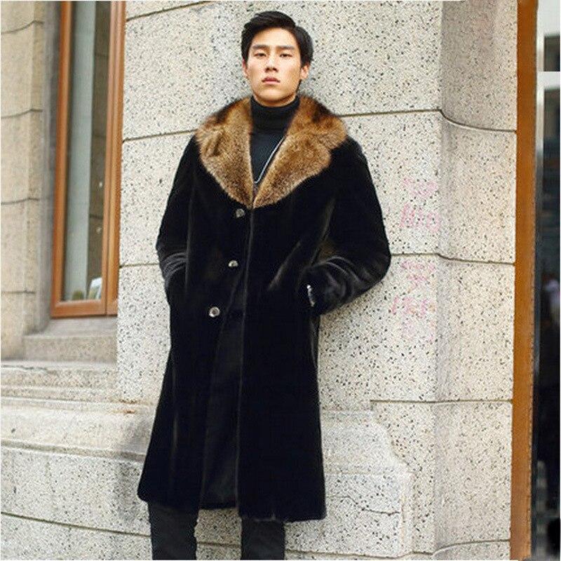 Plus Size S-5XL New Fashion Faux Fur Coats Men Clothes 2021 Warm Winter Oversized Black Overcoats Long Sleeve Fur Collar Jackets