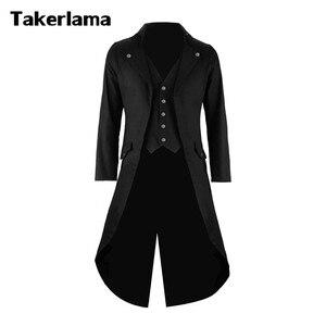 Мужской Готический Тренч Takerlama в стиле стимпанк, костюм для косплея, викторианское пальто, черный мужской длинный смокинг, костюм с жилетом