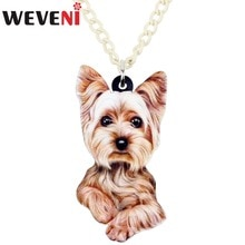 WEVENI Original Acrylic Fluffy Yorkshire Terrier Dog Necklace Pendant Collar Cartoon Animal Jewelry For Women Girls Collier 2018