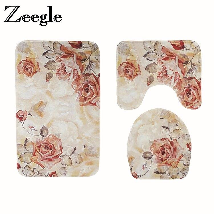 Европейский коврик Zeegle для ванной комнаты, 3 шт., коврик для ванной, нескользящий ковер для ванной комнаты, впитывающие коврики для ванной ко...