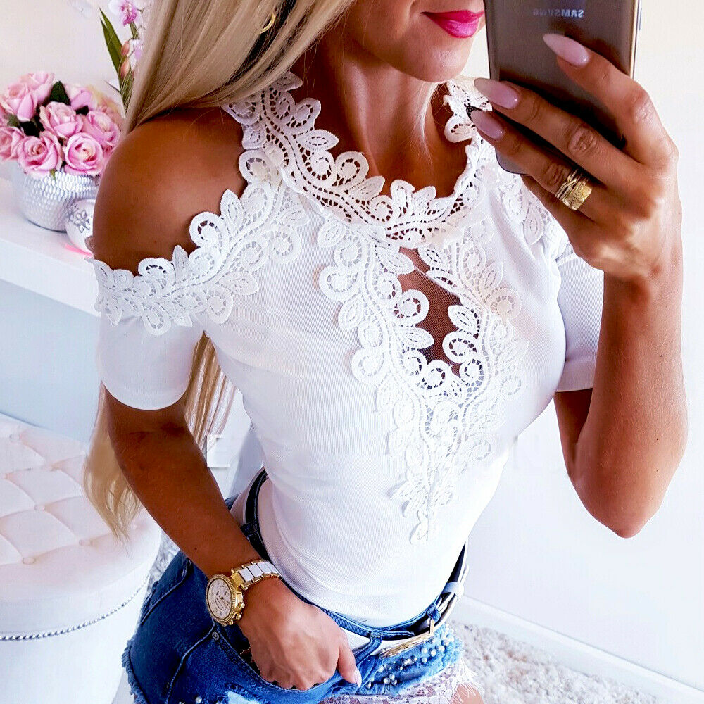 Blusa casual feminina, camisa de renda manga curta justa S-XL tamanhos roupas para senhoras