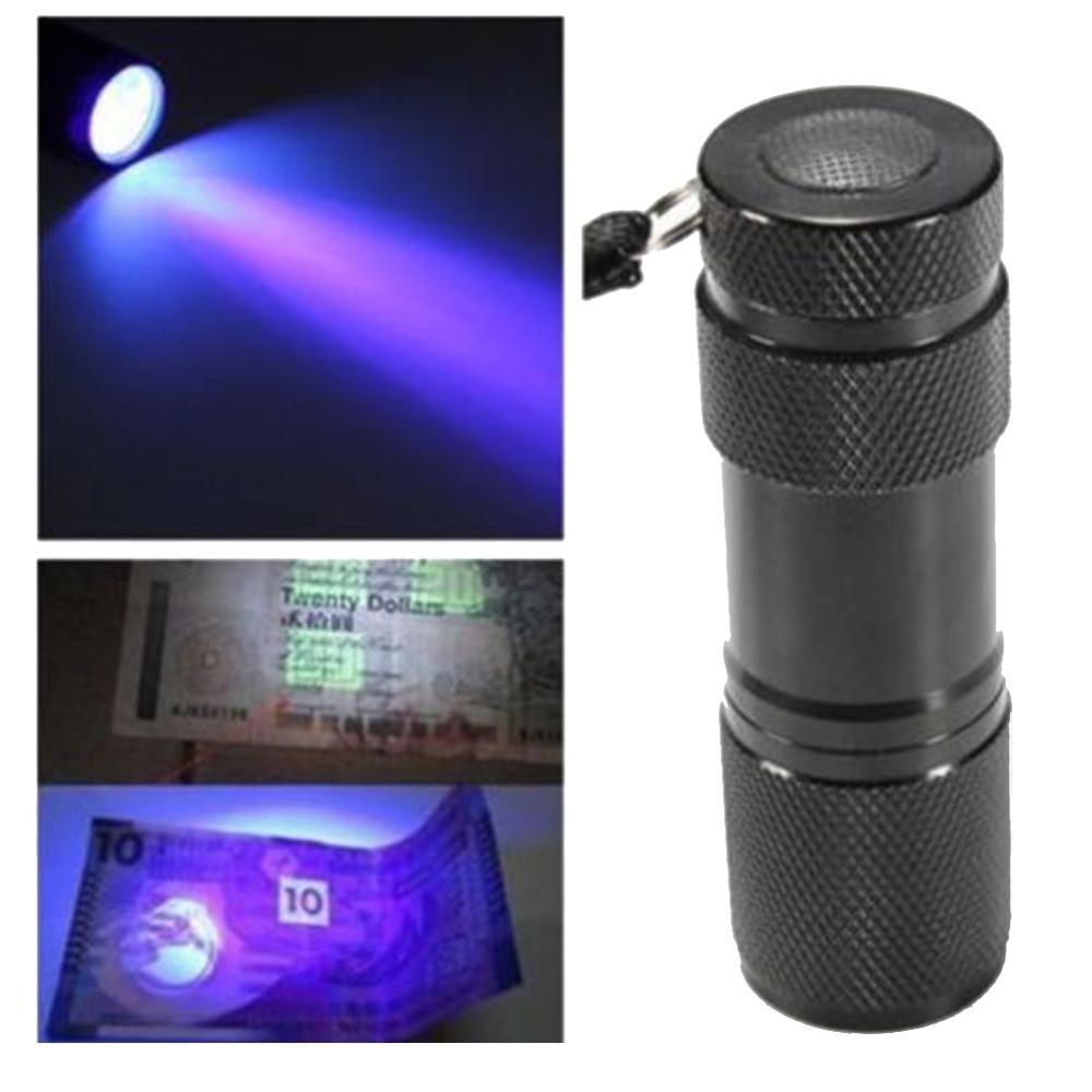 1 linterna de 9 LED UV, Mini linterna negra portátil de aluminio, Ultravioleta UV, luz negra, linterna