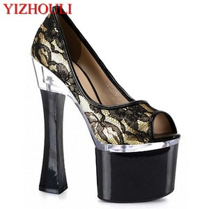 Sexy stage 18cm high heel fish mouth style, net cloth vamp material, pole dance performance, single shoes