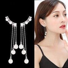Silver Color Needle Korean Temperament Long Paragraph pendant simple pearl earrings wild tassel ear jewelry