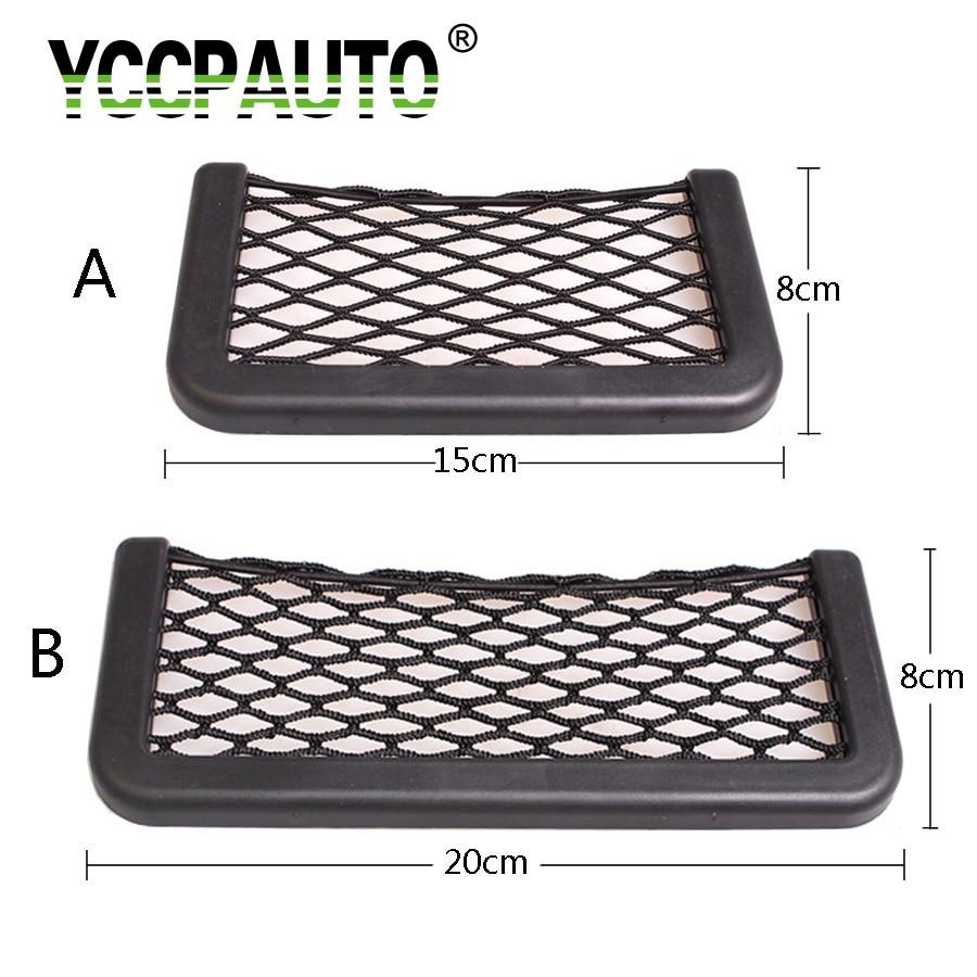YCCPAUTO 1Pcs Car Organizer Storage Bag Auto Paste Net Pocket Phone Holder Car Accessories 20*8CM 8*