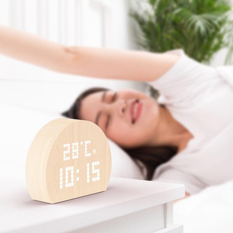 Reloj despertador electrónico de moda ráfaga LED en espera relojes eléctricos de alarma Semicircular relojes nórdico Retro creativo de madera