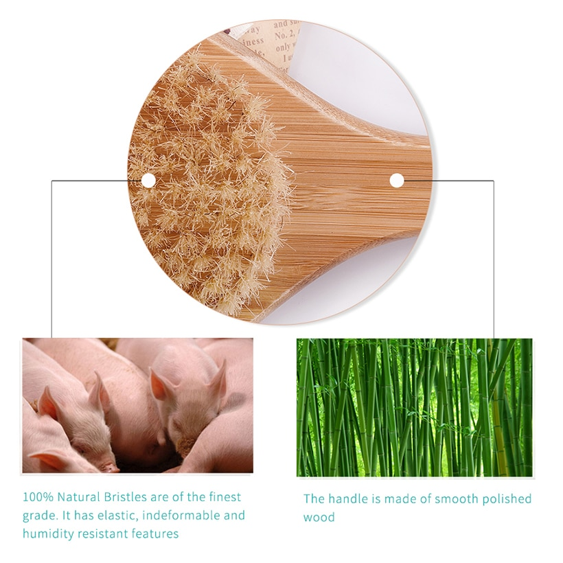 TREESMILE 50pcs Bath Brush Wooden Exfoliating Body Massage Brush Natural Bristle Bath Brush ,Long Bamboo Handle Body Brush D30 enlarge