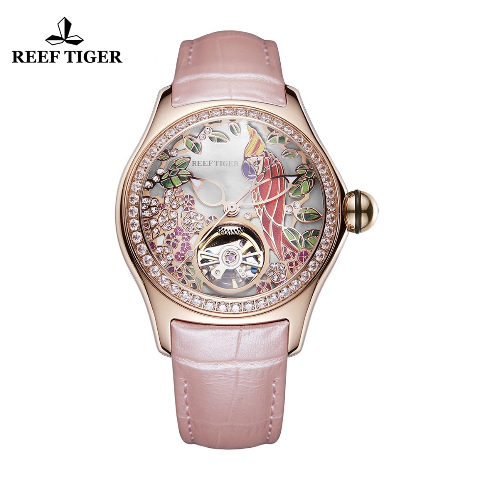 2020 Reef Tiger/RT Womens Luxury Fashion Watches Waterproof Watches Diamonds Pink Dial Automatic Tourbillon Watches RGA7105 enlarge