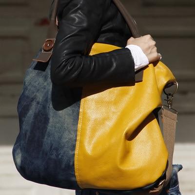Denim bag women's handbag color block handbag cross-body shoulder bag large capacity big bags