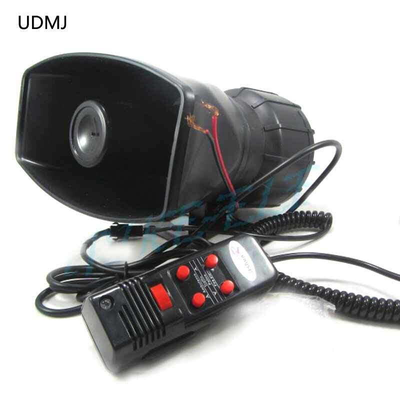 UDMJ 100W المذيع 5 الصوت الإلكترونية صفارة الإنذار مع ميكروفون سيارة مكبر الصوت إنذار الشرطة دراجة نارية فان شاحنة الطوارئ تحذير