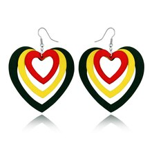 1Pair Boho Indian Woman Africa Maxi Earrings For Women Jewelry Colorful Natural Wood Three Layers Heart Dangel Big Earings E610