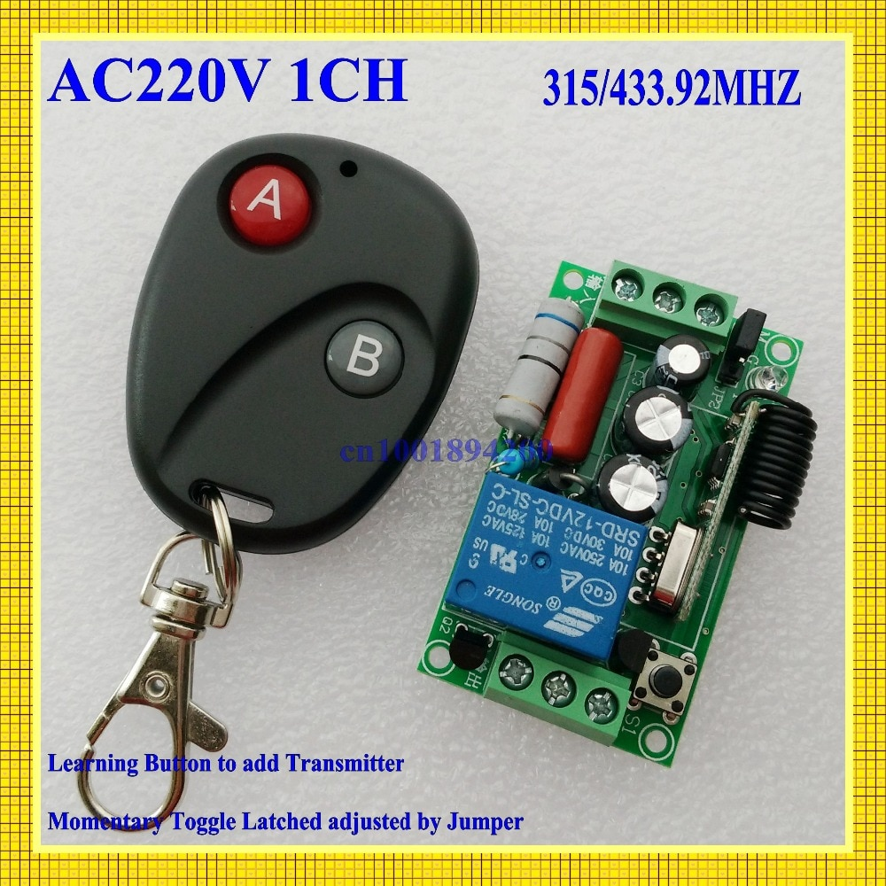 Interruptor de controle remoto ac220v 1ch interruptores de iluminação remoto em fora da lâmpada de luz smd power sistema de interruptor remoto 315/433. 92 mhz trava