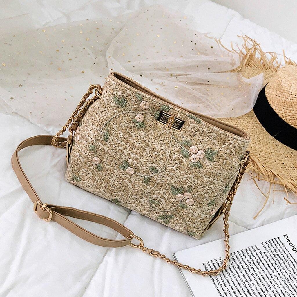 Women Beach Lace Embroid Straw Bucket Bag Burlap Square Bag  Messenger Bag Shoulder Bag Crossbody Bags For Women 2020 New