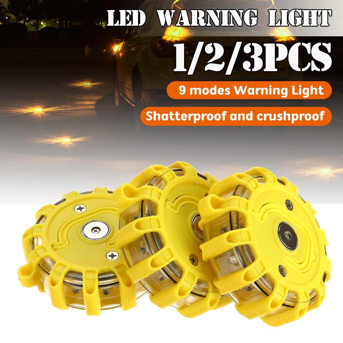 3pcs LED Road Flares Flashing Warning Light Roadside Safety Car Boat Truck Emergency Multifunction Car Light
